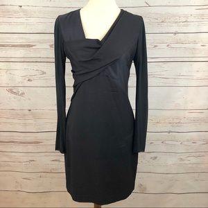 Helmut Lang Asymmetrical Draped Colorblock Dress